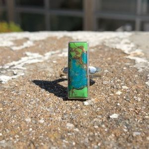 Turquoise Green Mohave Sterling Silver Ring Sz 8.5